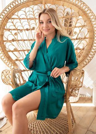 Халат 085 christel женский шелк зеленый
