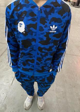Олимпийка bape x adidas camo blue