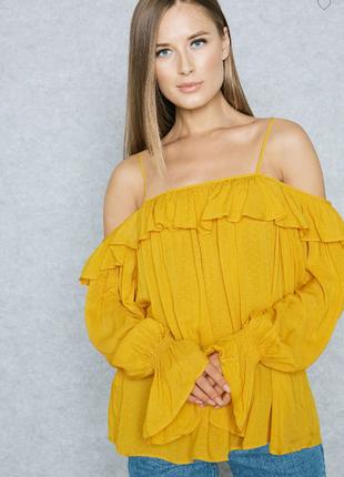 Романтическая желтая блуза mango m-l