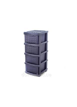 "Комод R-Plastic ""Компакт Плюс"" 4 яруса 34*40*86см, фиолет."