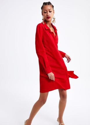 Платье zara в рубашечном стиле  l-хl