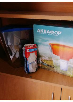 Фильтр - кувшин АКВАФОР Лаки + Аквафор В5 (В100-5) (синий)