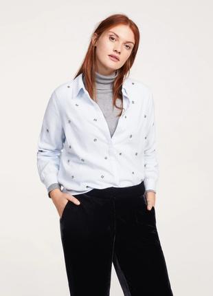 Рубашка блузка  в полоску с  вышивкой mango р.48-50