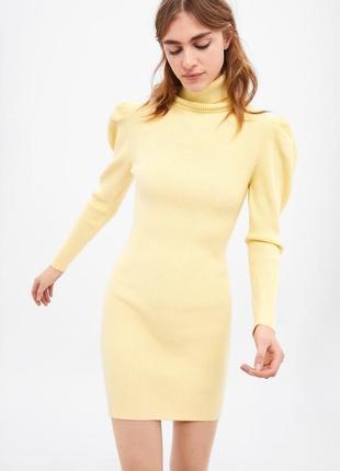 Лимонное платье -гольф от zara s-m-l