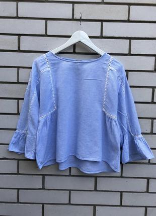 Голубая вышиванка блузка в этно бохо стиле