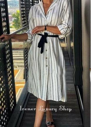 Полосатое платье туника zara l-хl