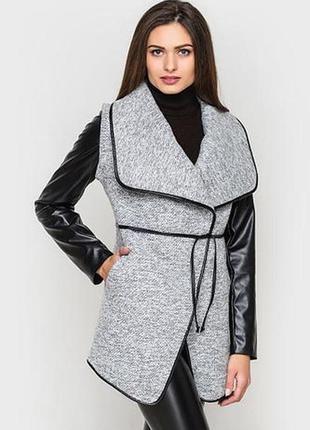 🔥продам стильное пальто-жакет с кожаными рукавами, пальто-тран...