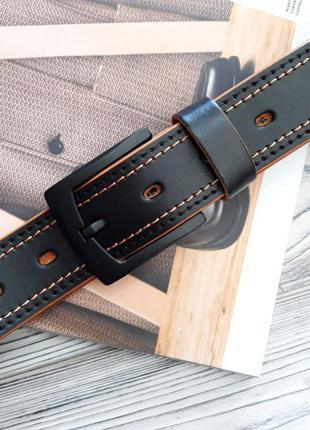 Ремень мужской кожаный черный