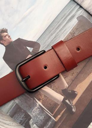 Ремень мужской кожаный коричневый