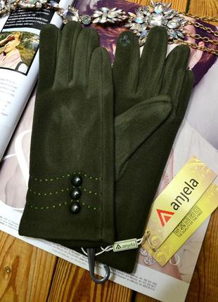 Перчатки женский зеленые