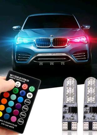 Автомобильные цветные лампы габаритов - ходовые огни RGB LED T10