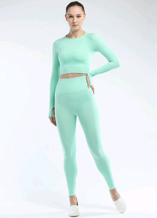 Бесшовный костюм для фитнеса Тройка размер S