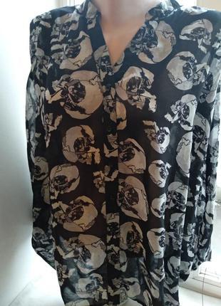Блузка шелковая большого размера