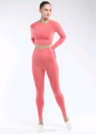Бесшовный костюм для фитнеса Тройка размер L