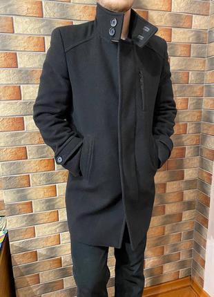 Мужское шерстяное черное пальто с подкладкой, размер l