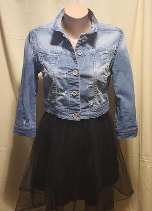Джинсовая коттоновая куртка короткая пиджак Bershka 46 EU