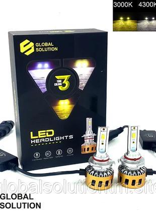 Светодиодные лампы головного света 3 цвета - туман, мокрая, сухая