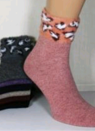 Носки женские шерсть ангора с меховым манжетом
