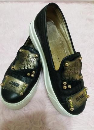 Женские кожаные макасины туфли лоферы