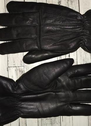 Мужские зимние кожаные перчатки на меху
