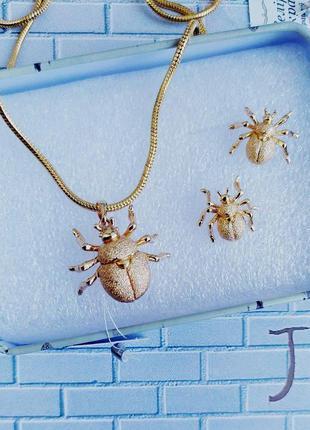 Набір із медицинського золота: кулон на цепочці та сережки