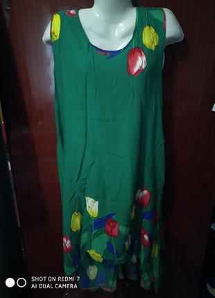 Зелёный, лёгкий сарафан, платье,штапель.