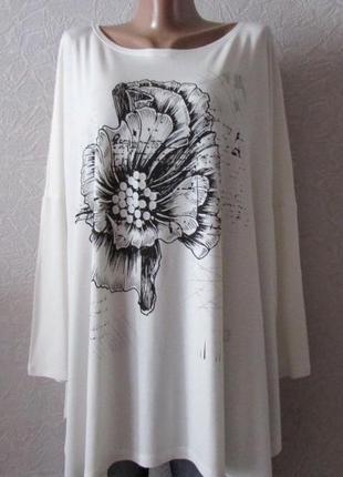 Платье туника леони бел., пр-во турция, большой размер