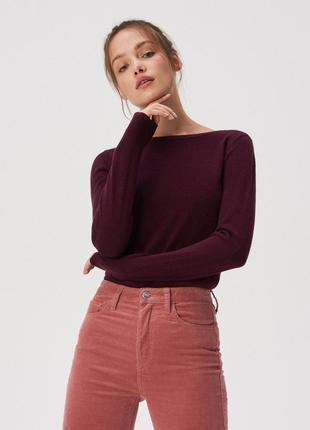 Новая вишневая баклажановая бордовая кофта свитер марсала поль...