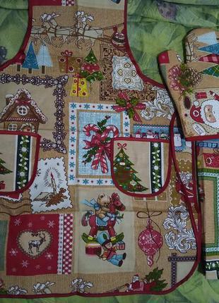 Набор кухонной новогодний ( фартук, прихватки, полотенце)
