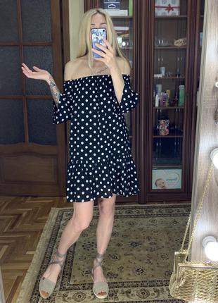 Платье в стиле прованс, в горохи, открытые плечи m
