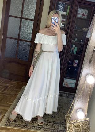 Винтажное платье в стиле прованс открытые плечи