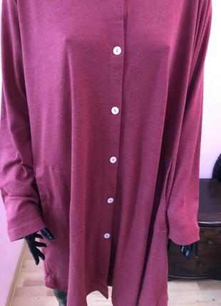 Платье рубашка винного цвета, carole hochman, размер 58-62