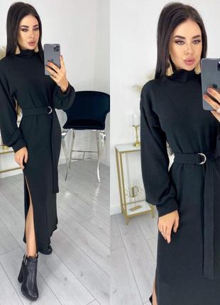 Теплое платье в пол ангора с поясом разрезы