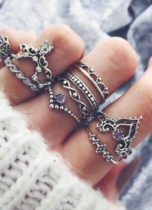 Стильное  кольца в стиле бохо с опалом 10шт