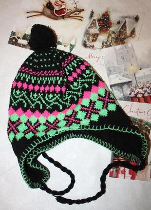 Зимняя шерстяная шапочка на флисовой подкладке от 5 до 8лет