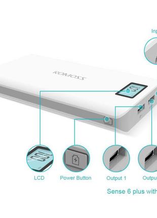 Power Bank Romoss LCD 50000mAh Sense 6 PLUS 2USB, повербанк с экр