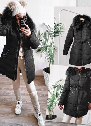 Куртка женская черная Shengda на утеплителе с мехом зимняя L-3XL