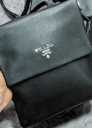Кожаная сумка в стиле prada