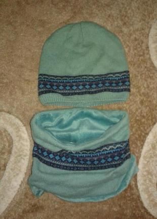 Бирюзовый комплект шапка и шарф-снуд от verbaudet