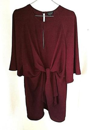 Легкое платье с узлом\завязками рукав 3\4 марсал винный бордо ...