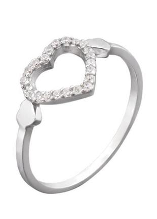 Кольцо серебро 925 сердце лк0011