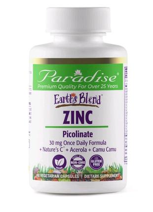 Цинк пиколинат, 30 мг, Paradise Herbs, Earth's Blend, Zinc, Picol
