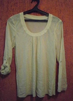 Блуза полупрозрачная, длинный рукав, красивый вырез