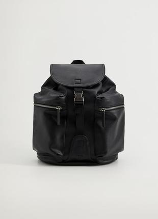 Кожаный рюкзак mango man с карманами !