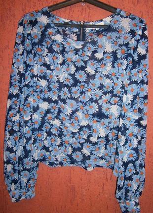 Красивая блуза в ромашки длинный рукав