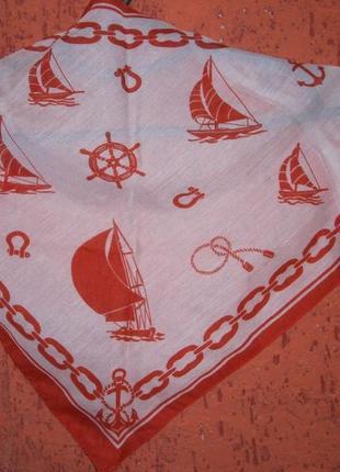 Морская косынка, платок на шею цепи парусник якорь канат штурвал