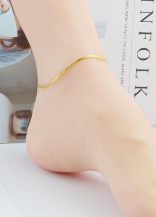 Модные женские браслеты на ногу со змеиным плетением. Подарок