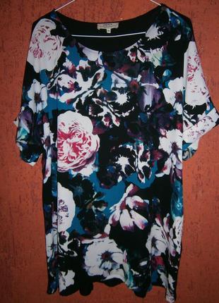 Блуза длинная розы цветы короткий рукав