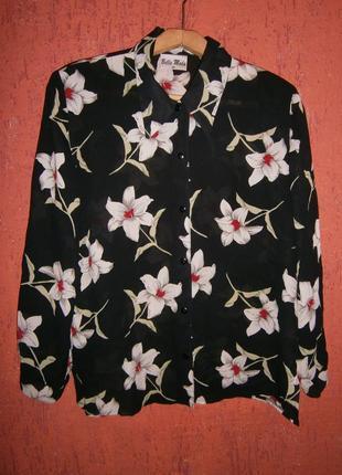 Блуза крупные цветы тренд лилии длинный рукав