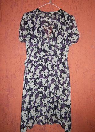 Тренд цветы шифон симпатичное платье с  коротким рукавом на по...
